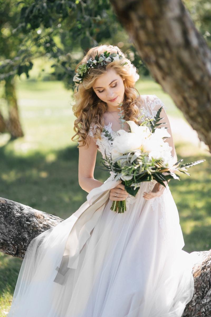 Blonde Wedding Dress Flower Bouquet
