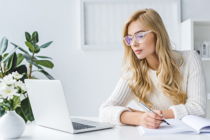 Blonde Woman Glasses Laptop Writing Notebook Sweater