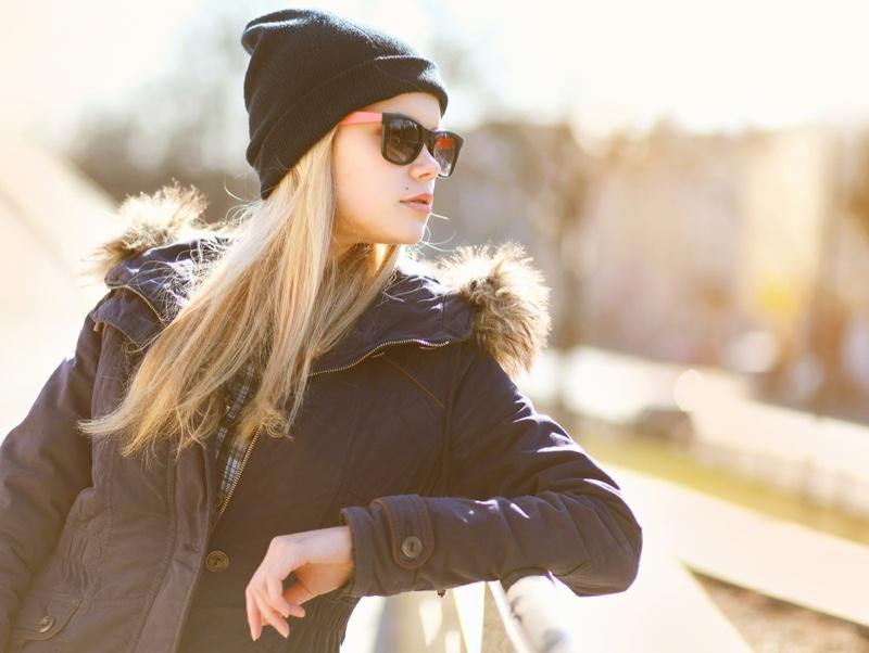 Blonde Woman Winter Coat Beanie Outdoors Sun
