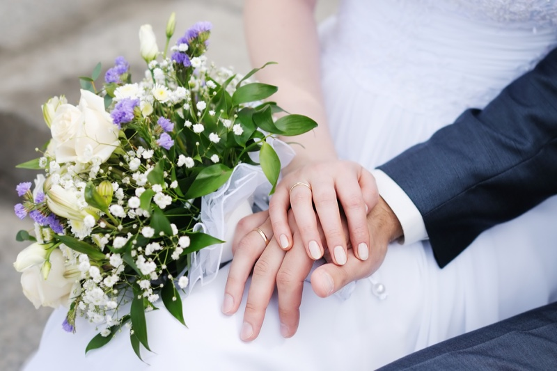 Bride Groom Wedding Rings Floral Bouquet