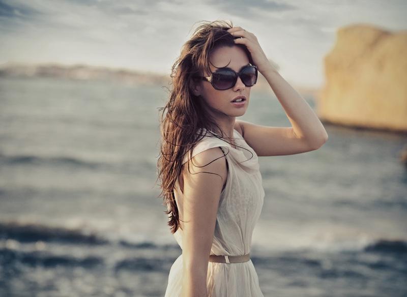 Brunette Model Beach Dress Sunglasses