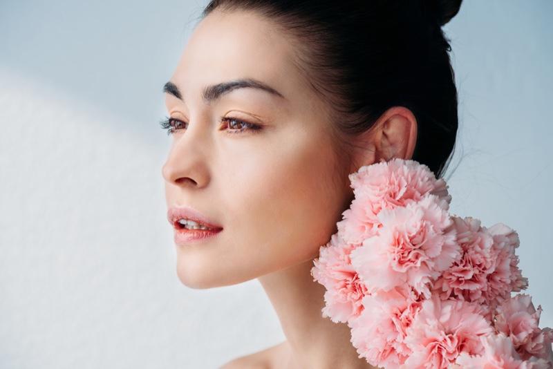 Brunette Model Beauty Makeup Pink Flowers