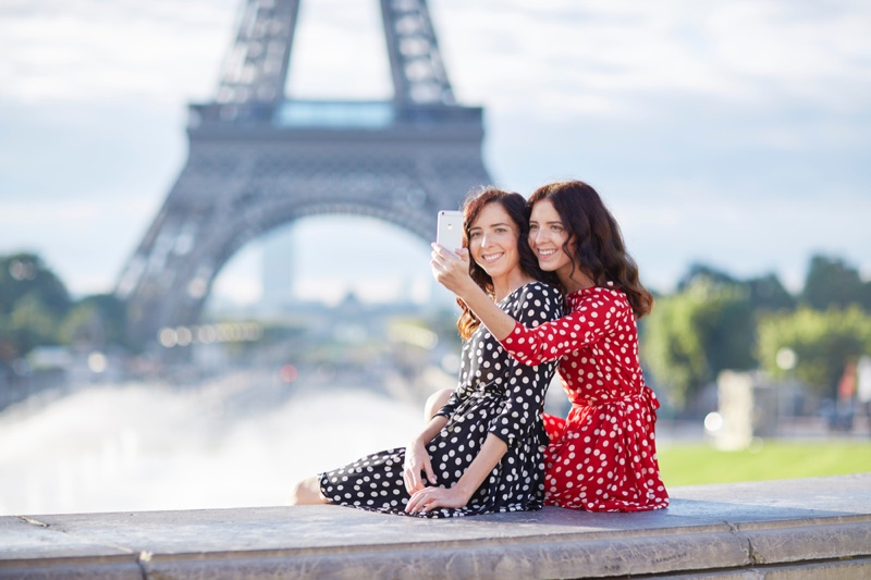 Brunette Women Smiling Paris Polka dot Dresses Phone