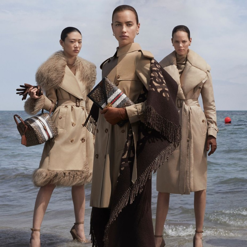 Sora Choi, Irina Shayk and Freja Beha Erichsen front Burberry fall-winter 2019 campaign. Photo: Danko Steiner