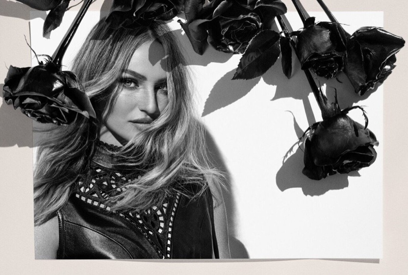 Wearing leather, Candice Swanepoel fronts Animale 2019 campaign