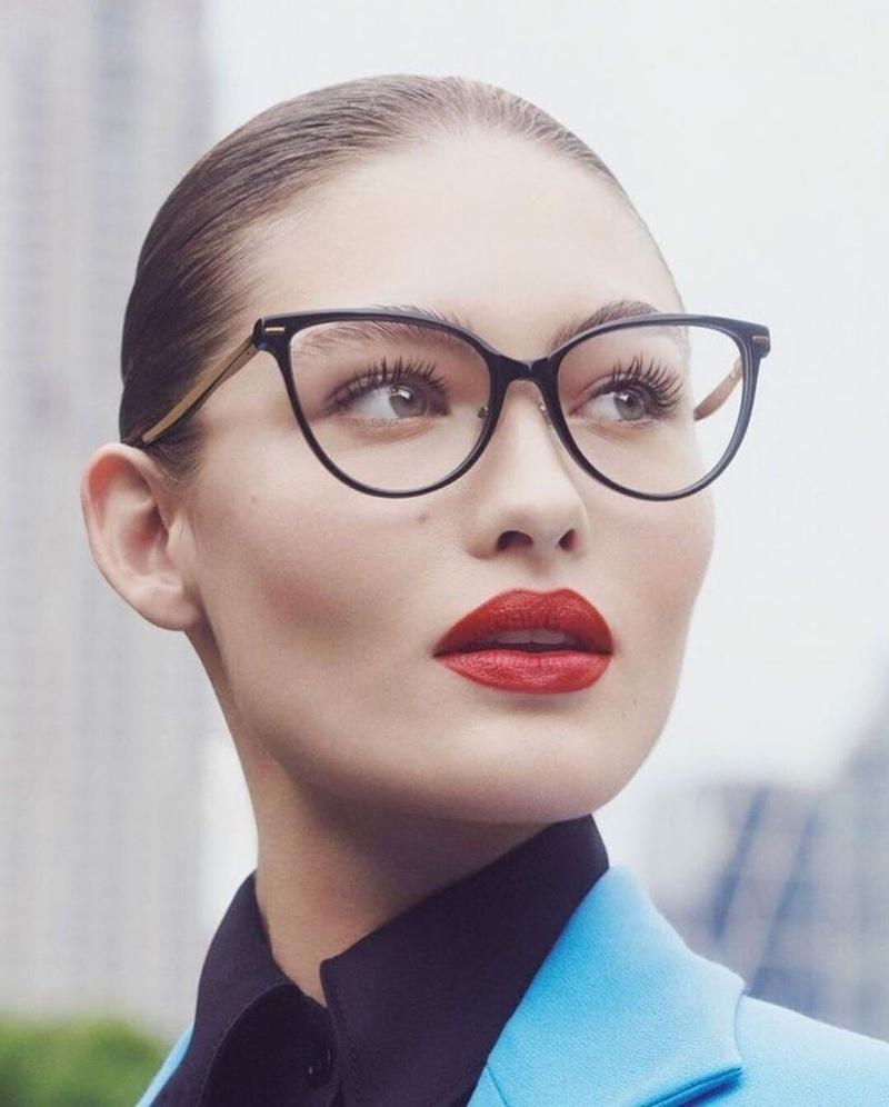 Carolina Herrera features cat eye glasses in fall-winter 2019 campaign