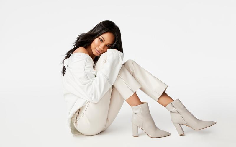 Model Chanel Iman wears Ulani boots in Marc Fisher LTD fall-winter 2019 campaign