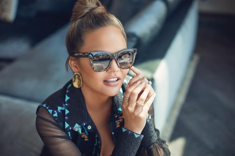 Model Chrissy Teigen wears Quay Australia Sweet Dreams sunglasses