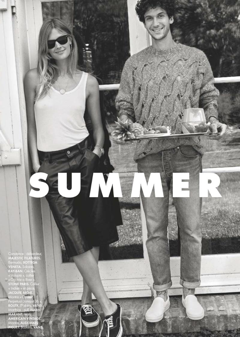 Constance Jablonski Poses in Chic Summer Styles for ELLE France