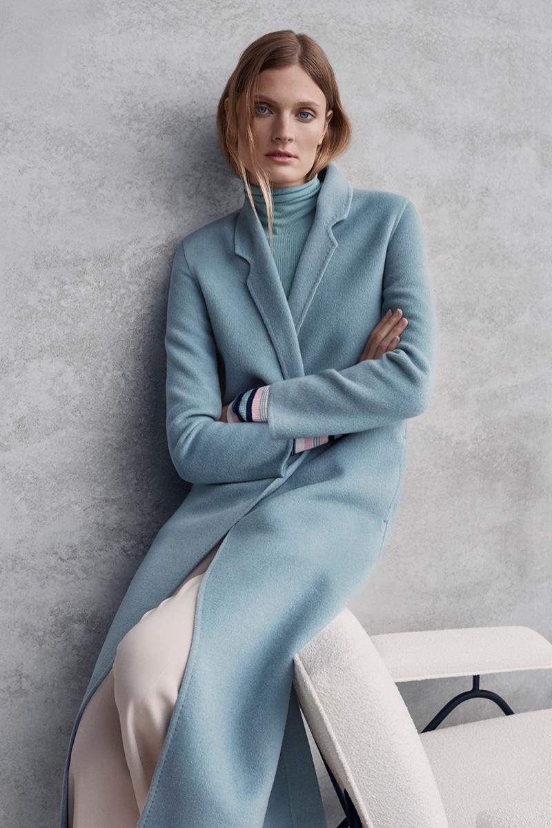 Constance Jablonski wears outerwear in Ellassay fall-winter 2019 campaign