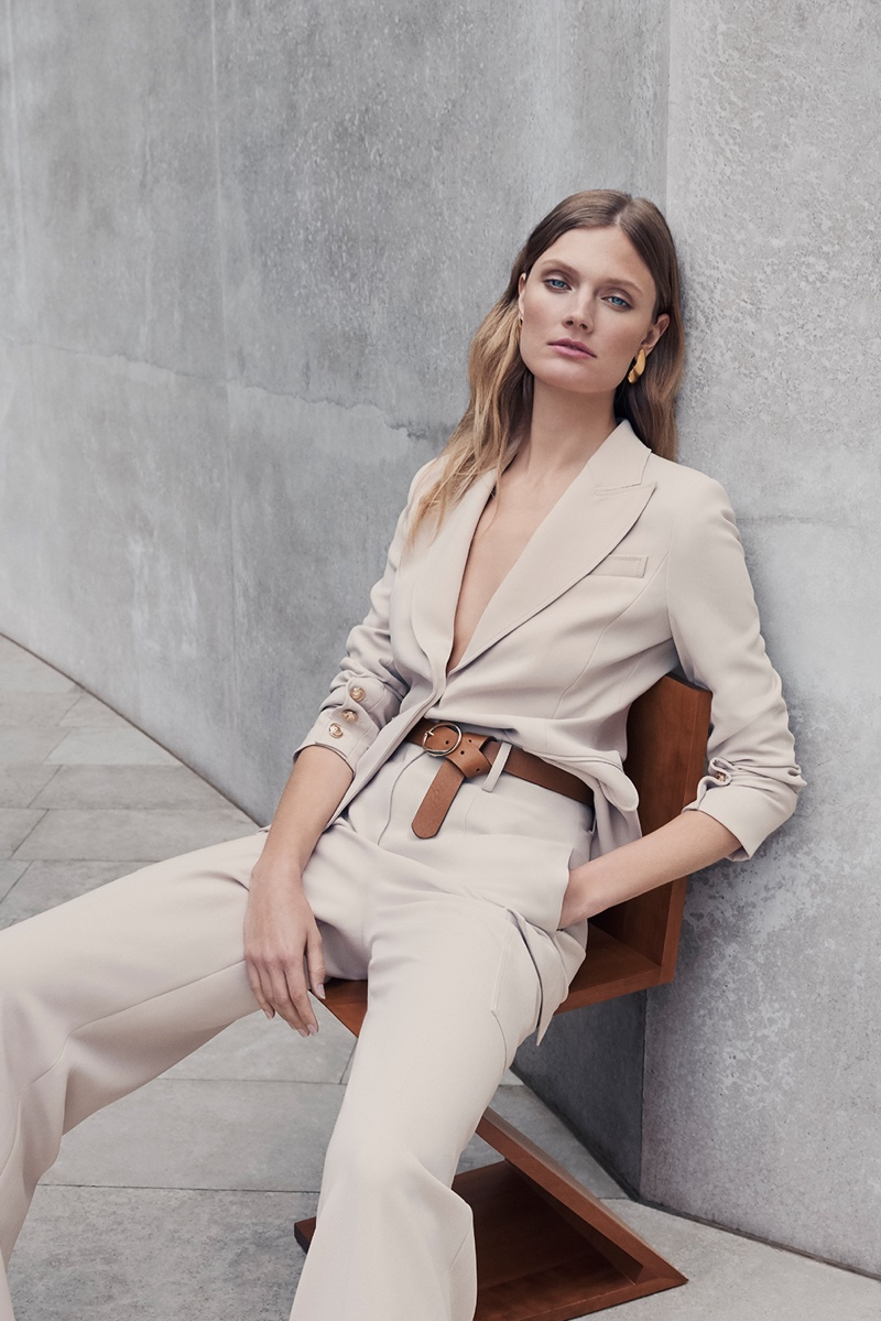 Suiting up, Constance Jablonski fronts Ellassay fall-winter 2019 campaign