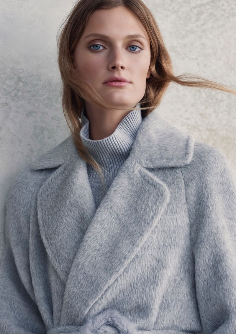 Dressed in grey, Constance Jablonski fronts Ellassay fall-winter 2019 campaign