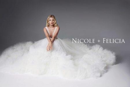 Elsa Hosk models bridal dress in Nicole + Felicia campaign