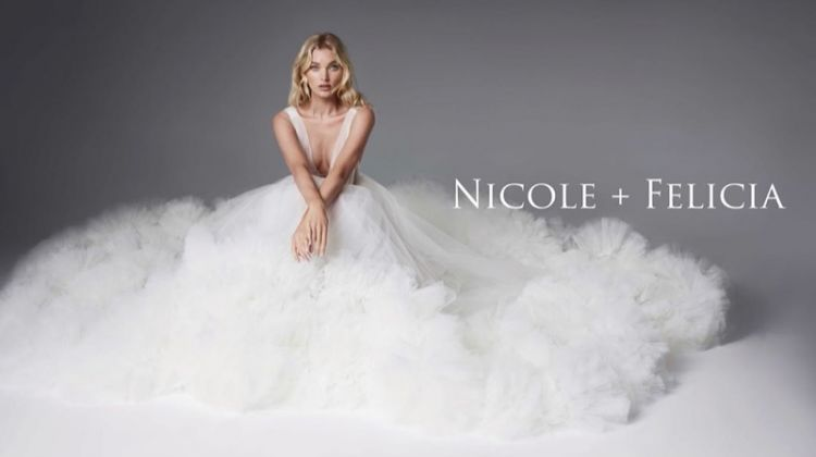 Elsa Hosk models bridal dress in Nicole + Felicia campaign