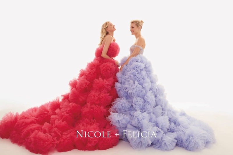 Elsa Hosk and Jessica Stam front in Nicole + Felicia Couture fall-winter 2019 campaign