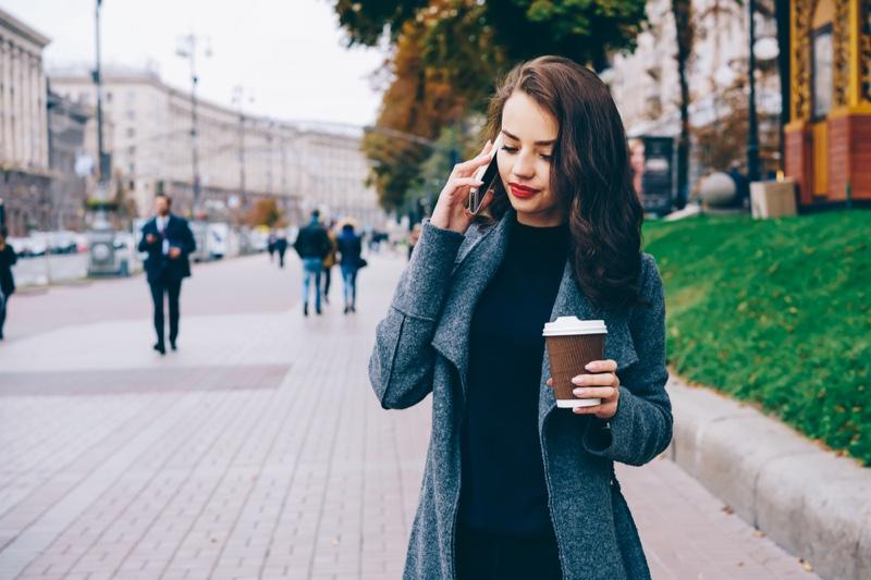 Fashionable Woman Phone Coffee