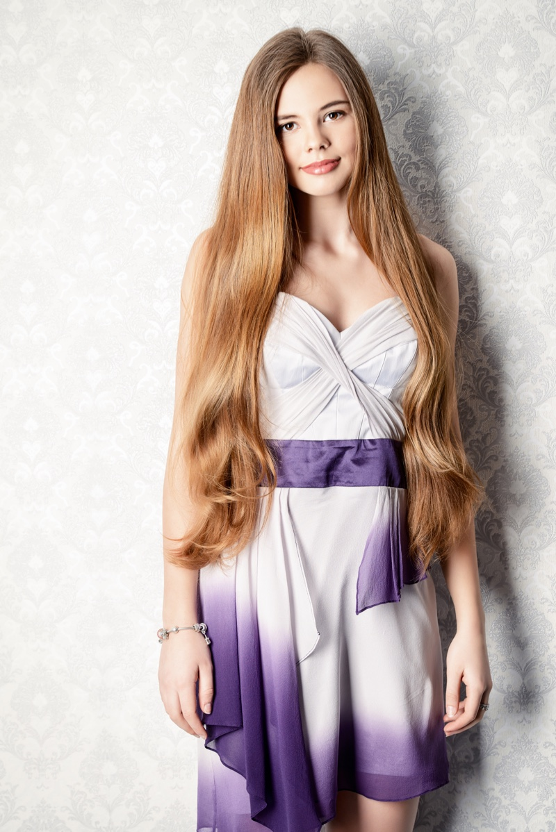 Girl Prom Party Dress Long Hair