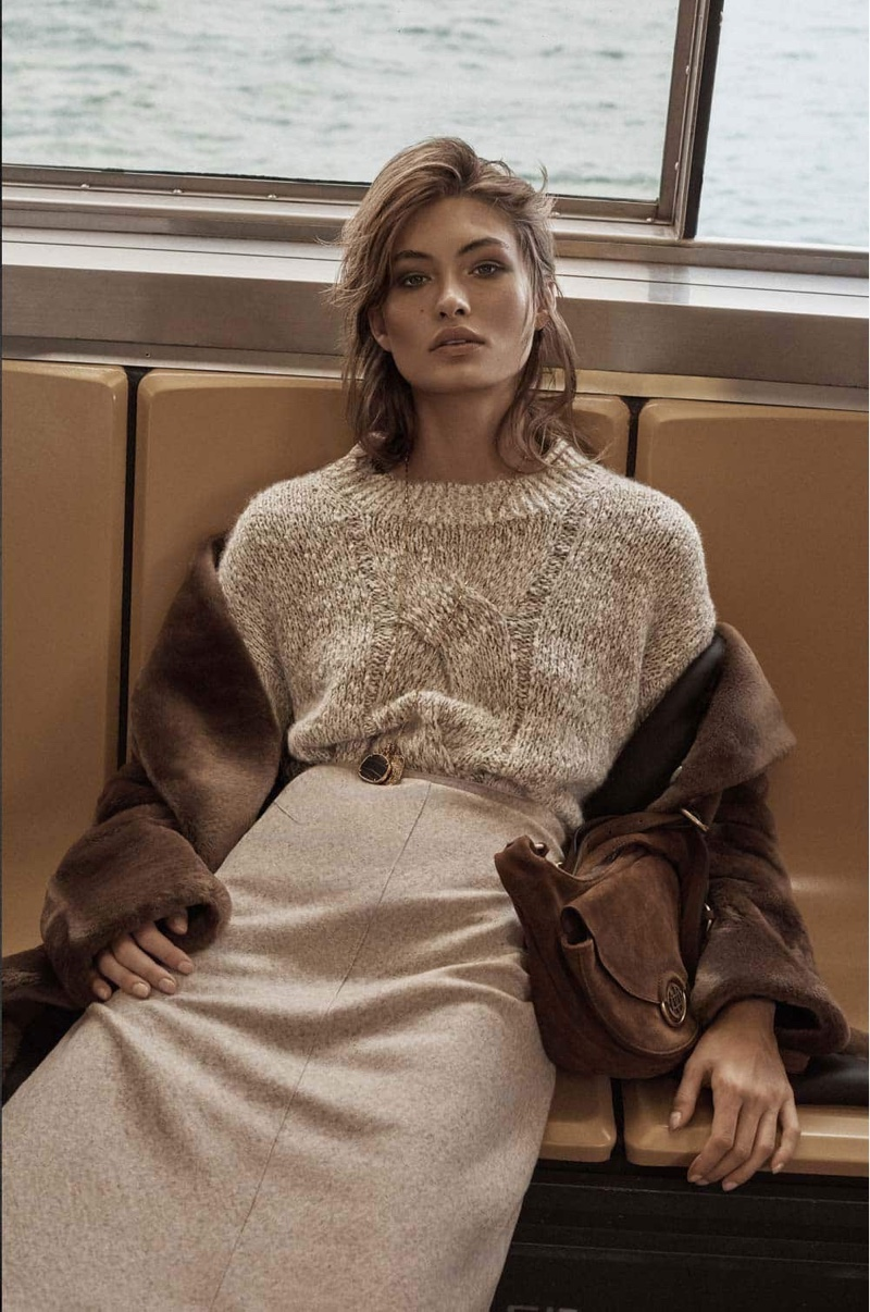 Grace Elizabeth models neutral styles from Massimo Dutti