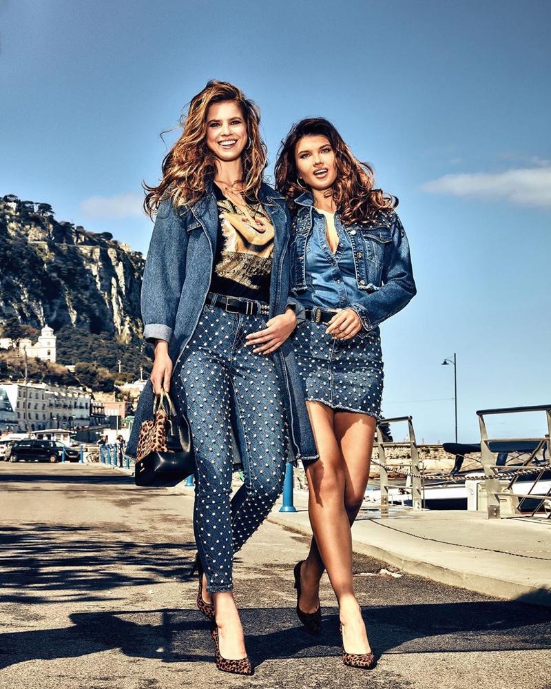 Emily Deyt-Aysage and Iuliia Vasileva pose in Capri, Italy, for Guess Denim fall-winter 2019 campaign