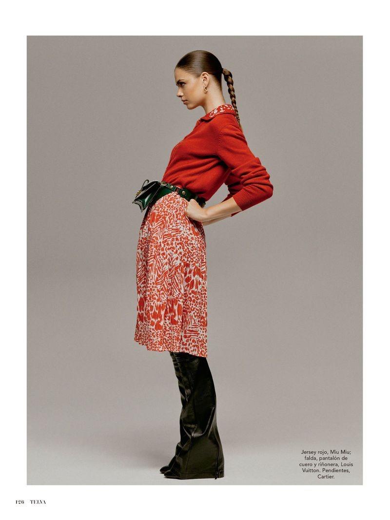 Gwen Van Meir Models Leather Styles for TELVA