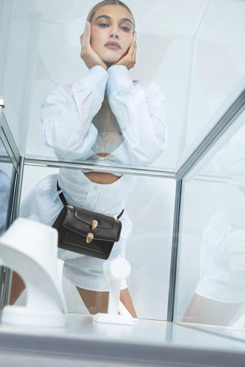Hailey Baldwin fronts Alexander Wang x Bulgari handbag campaign