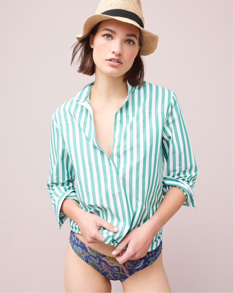 J. Crew Packable Straw Hat $49.50, Band-Collar Popover Tunic $79.50 and Surf Hipster Bikini Bottom $48