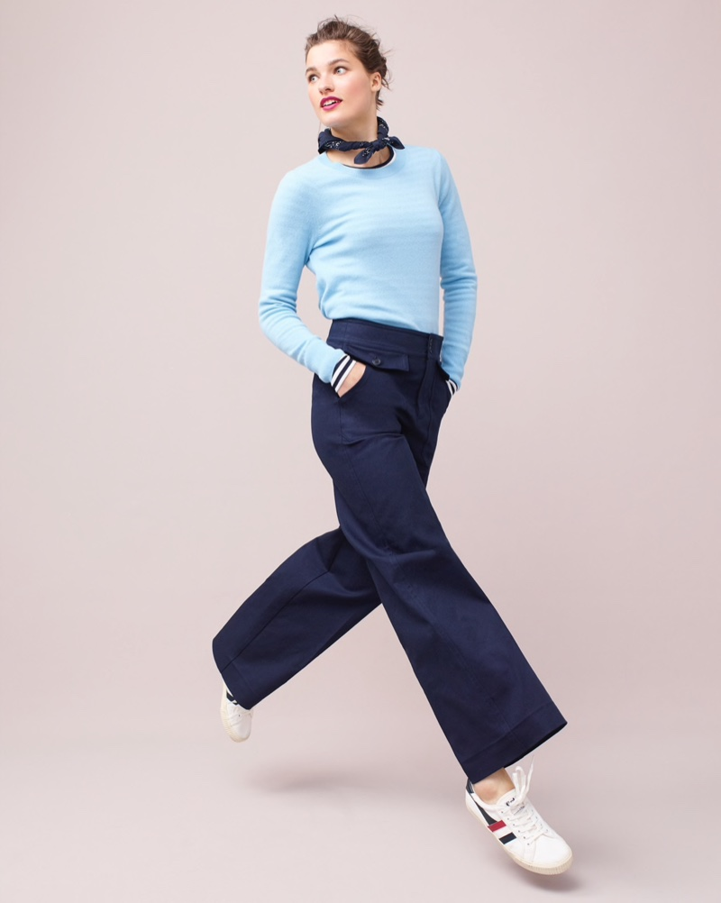 J. Crew Long-Sleeve Everyday Cashmere Crewneck Sweater $98, Officer Patch-Pocket Wide-Leg Pant $98, Gola for J. Crew Mark Cox Tennis Sneakers $65 and Wallace & Barnes Bandana $15