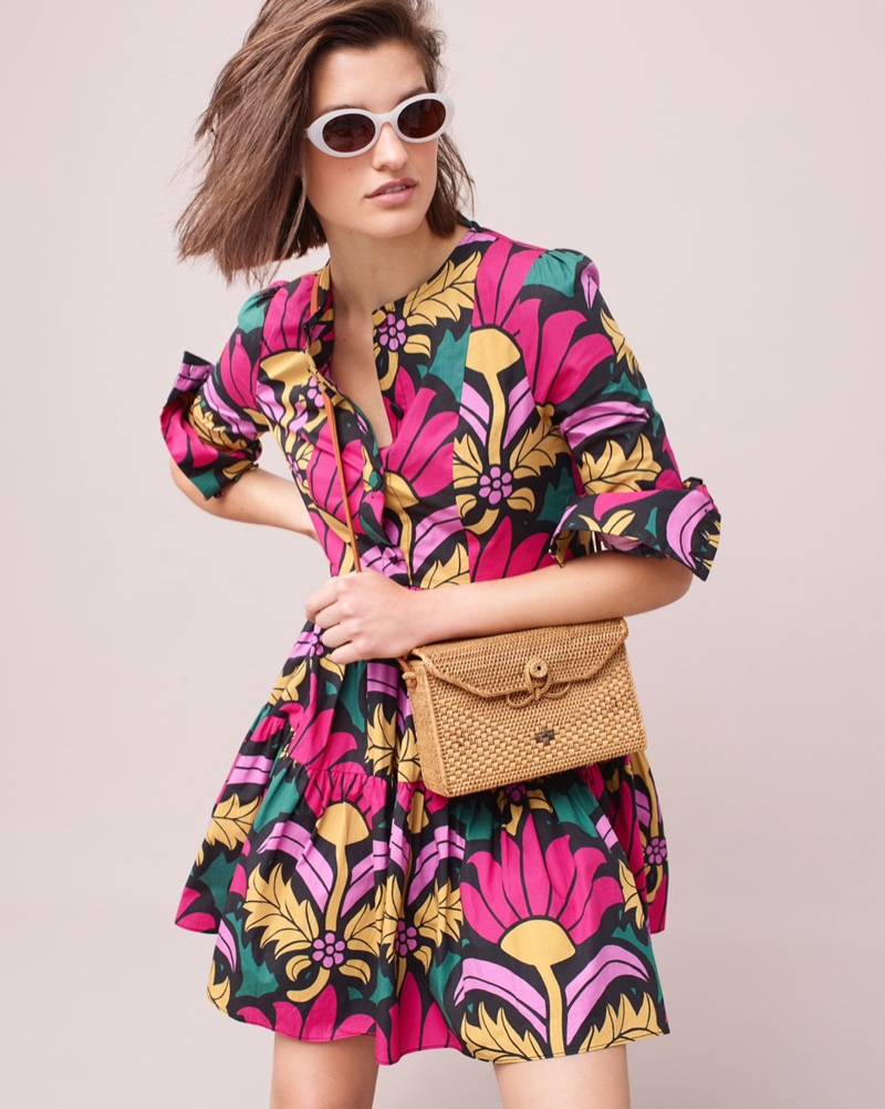 J. Crew Tiered Dress in Ratti Grandi Flori Print $148, Portico Round Sunglasses $59 and Bembien Sofia Bag $220