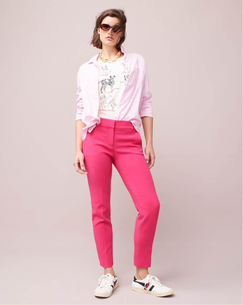 J. Crew Vintage Pajama Top $95, City Dogs T-Shirt $29.50, Cameron Slim Crop Pant $89.50, Portico Round Sunglasses $59 and Gola for J. Crew Mark Cox Tennis Sneakers $65