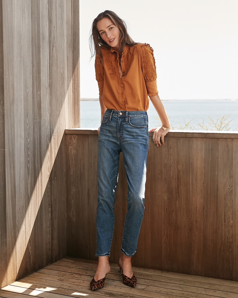 J. Crew Mockneck Embroidered Blouse $79.50, Curvy Vintage Straight Jean $128, Botanical Mixed-Fringe Earrings $75 and Sophia Kitten Heels $168