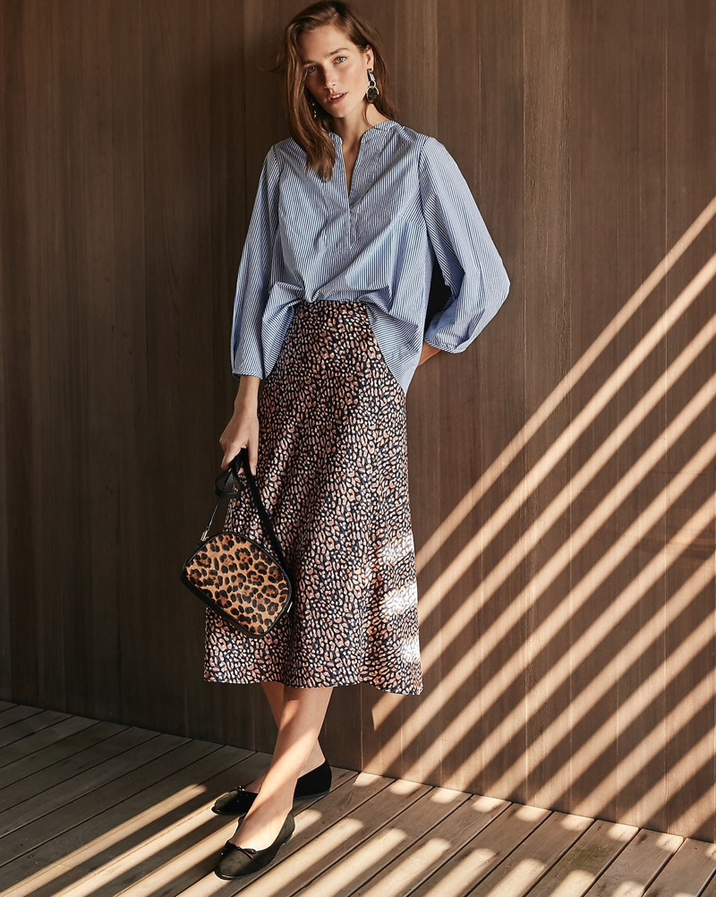 J. Crew Open V-Neck Cotton Poplin Top $79.50, Pull-On Slip Skirt $98, Disc Drop Earrings $59.50, Devon Camera Bag $138 and Ballet Flats in Suede $98