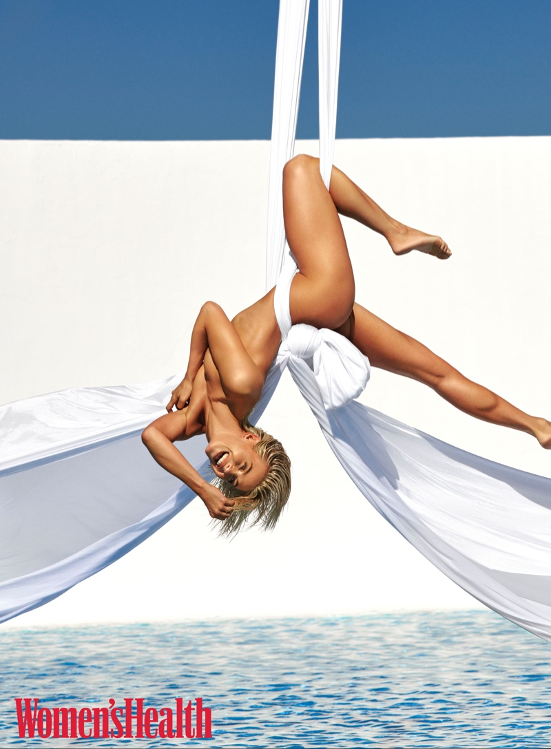 Posing nude, Julianne Hough does aerial aerobics