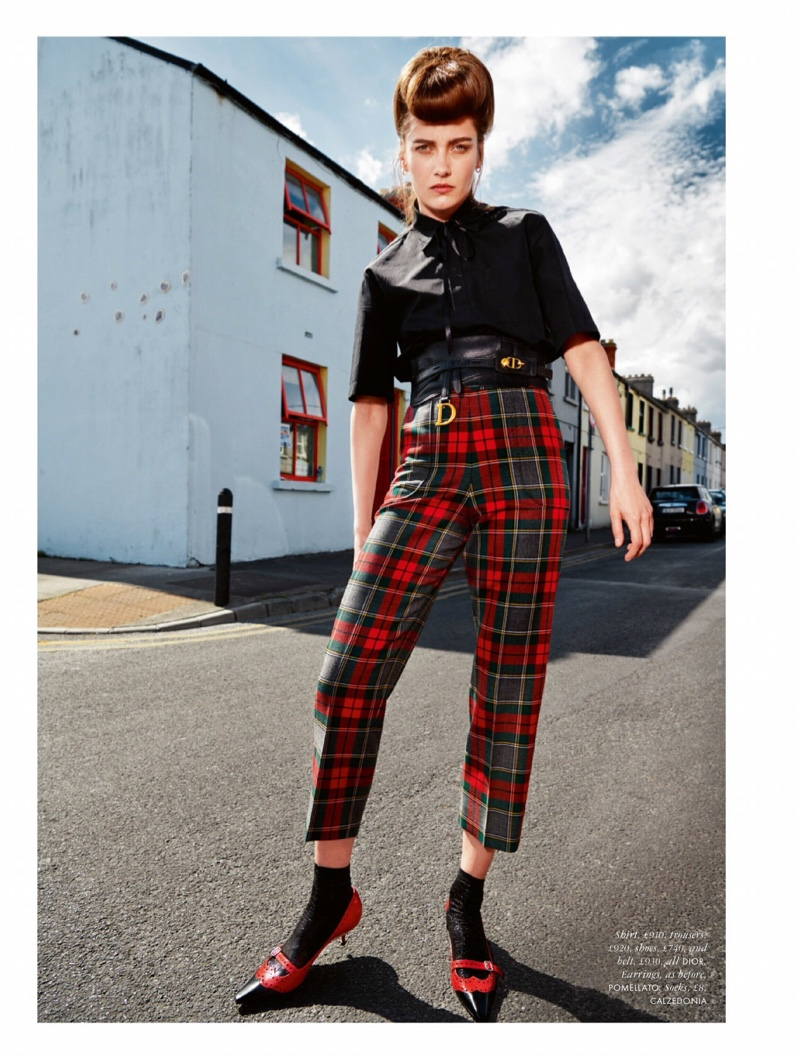 Karmen Pedaru Poses in Teddy Girl Style for ELLE UK
