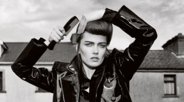 Karmen Pedaru Poses in Teddy Girl Style for ELLE UK