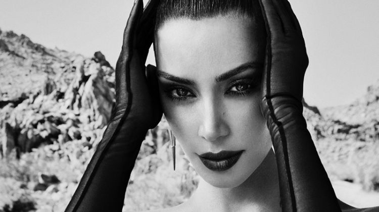 Ready for her closeup, Kim Kardashian poses in black and white