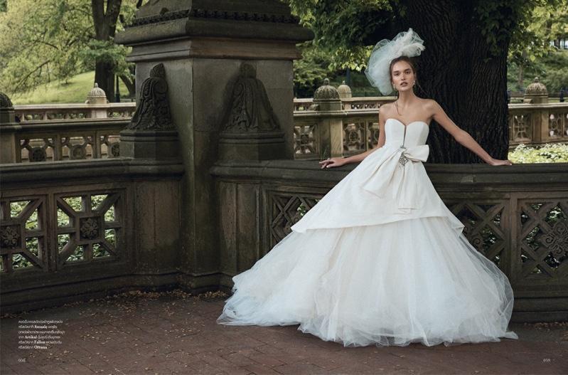 Kinga Trojan Poses in Bridal Fashion for L'Officiel Thailand