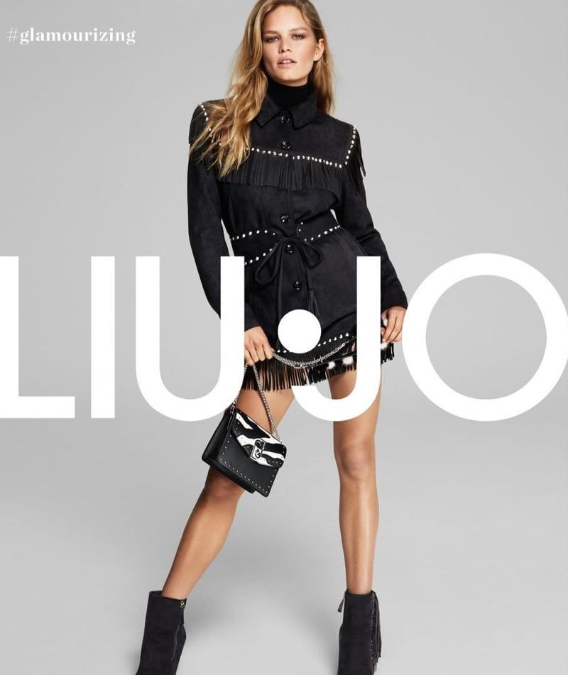 Anna Ewers wears a little black dress in Liu Jo  fall-winter 2019 campaign