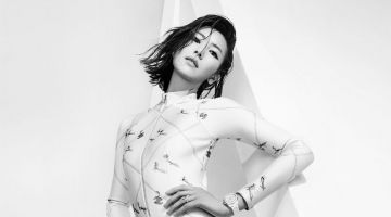 Liu Wen Wears Body Conscious Styles for Harper's Bazaar China