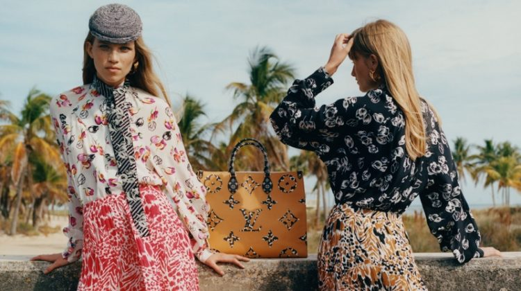 Rebecca Leigh Longendyke and Klara Kristin front Louis Vuitton Monogram Jungle campaign