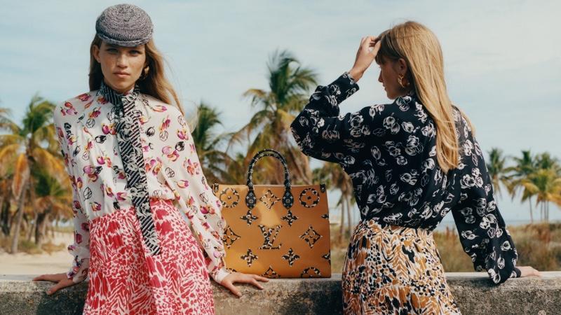 Rebecca Leigh Longendyke and Klara Kristin front Louis Vuitton Monogram Jungle campaign