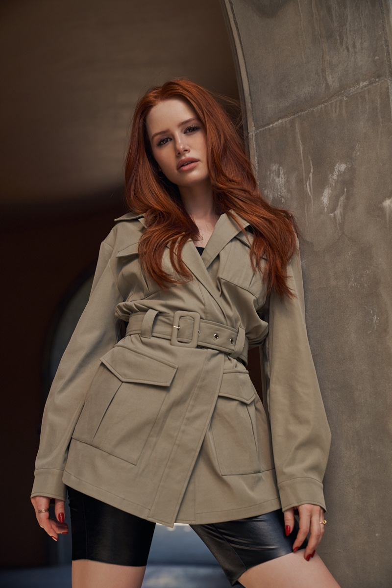 Actress Madelaine Petsch wears Shein x Madelaine flap pocket coat