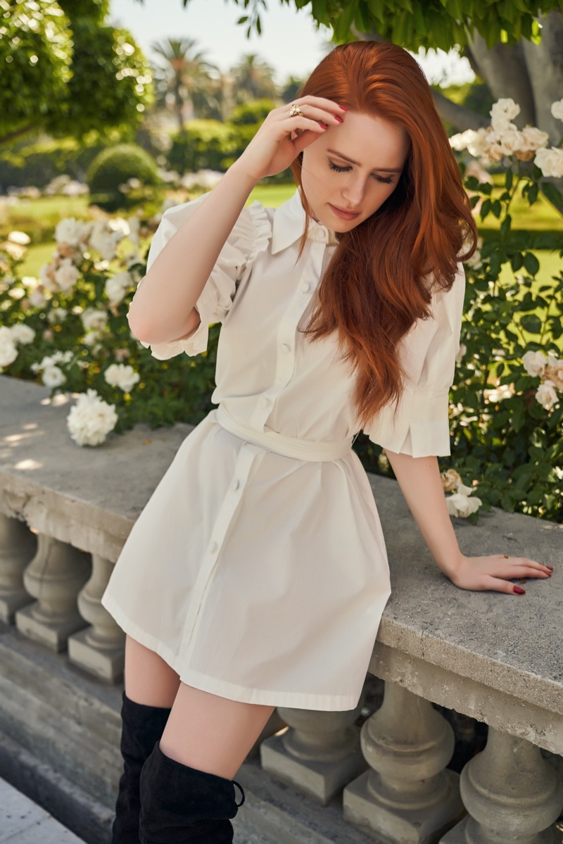 Dressed in white, Madelaine Petsch models Shein