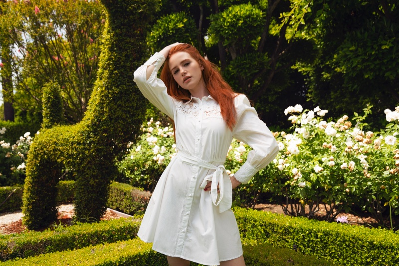 Looking western chic, Madelaine Petsch wears guipure lace dress from Shein