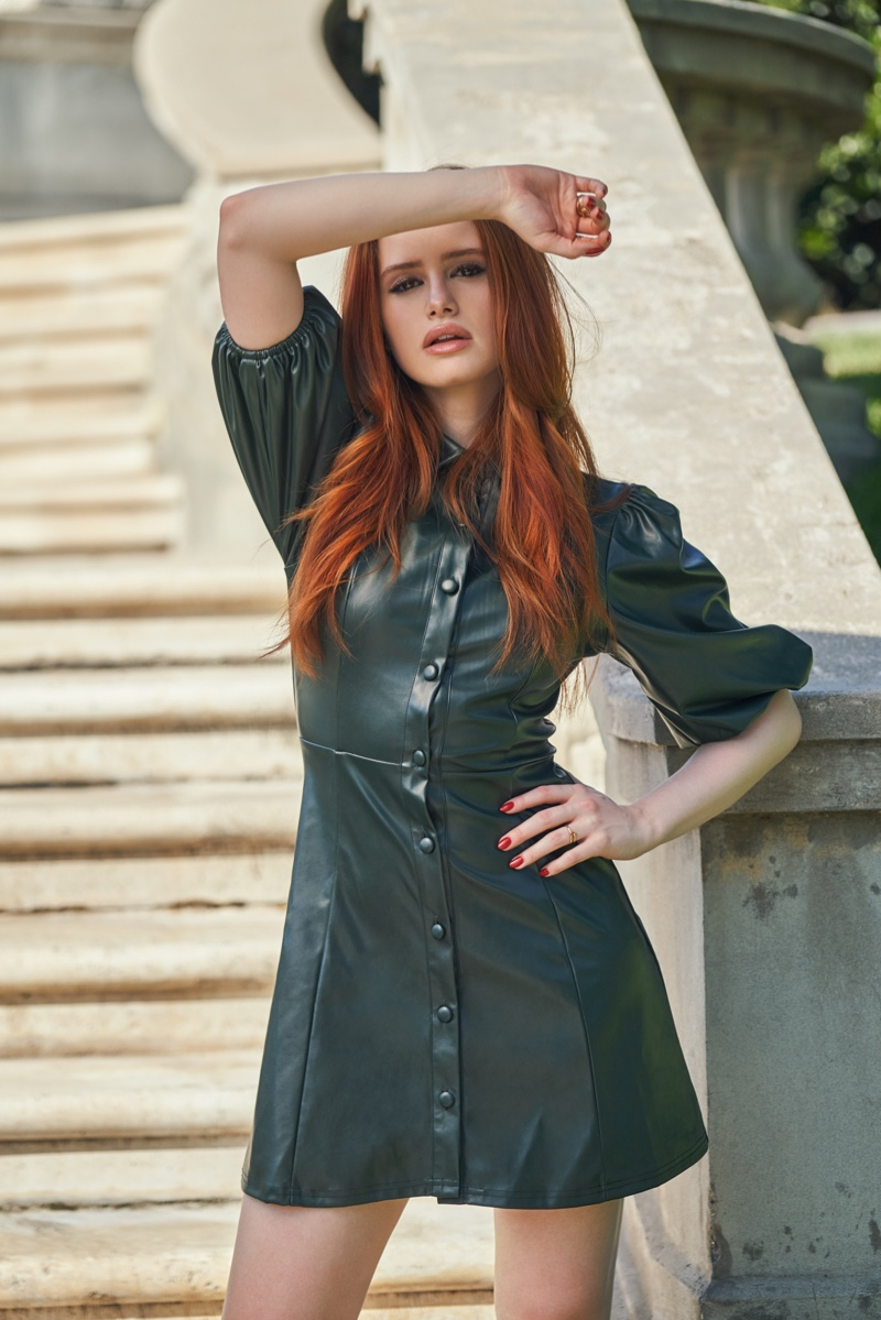 Dressed in green, Madelaine Petsch wears faux leather dress from Shein line