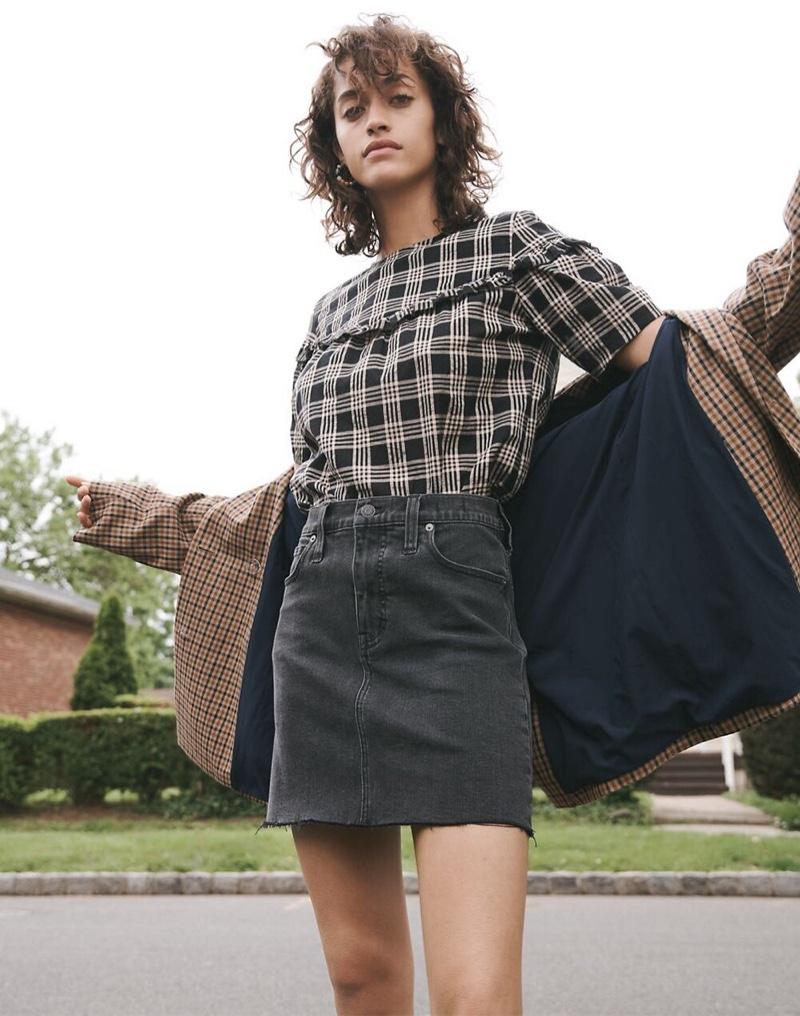 Madewell Ruffle-Yoke Top $72, Stretch Denim Straight Mini Skirt $79.50 and Caldwell Double-Breasted Blazer $168