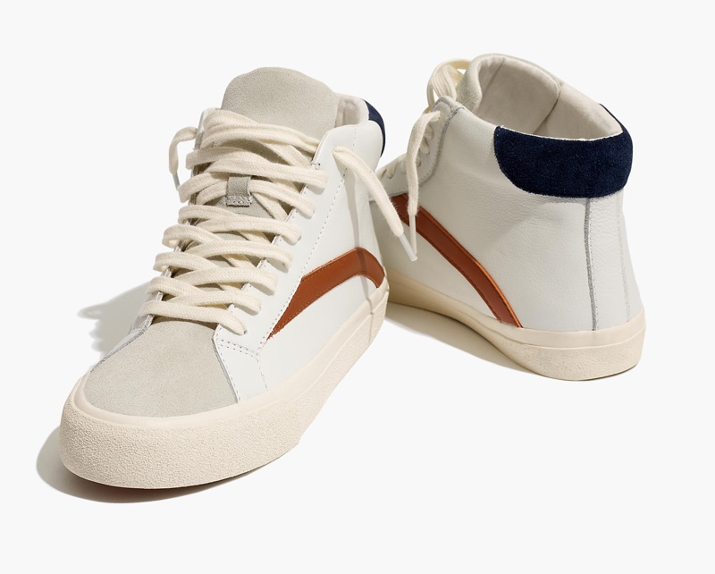 Madewell Sidewalk High-Top Sneakers in Colorblock Leather with Gossamer Grey $98