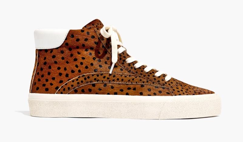 Madewell Sidewalk High-Top Sneakers in Spot Dot Calf Hair $110
