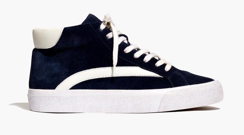 Madewell Sidewalk High-Top Sneakers in Suede / Dark Nightfall $98