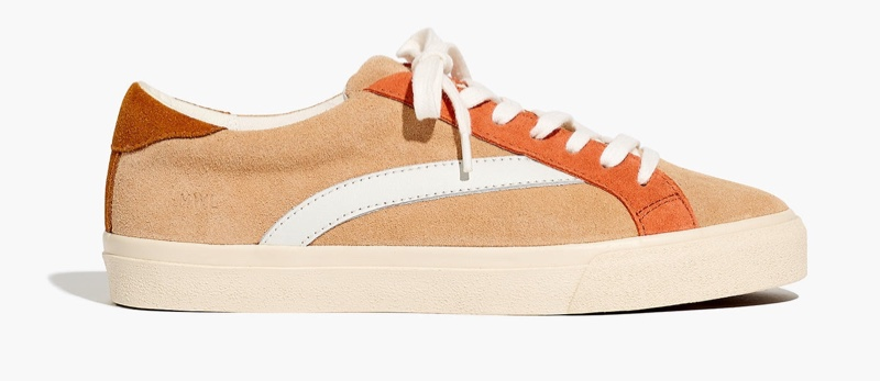 Madewell Sidewalk Low-Top Sneaker in Colorblock Suede with Earthen Sand $88