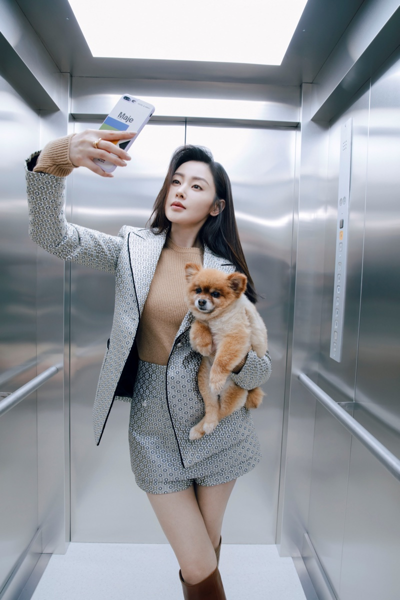 Lina Zhang takes a selfie in Maje fall-winter 2019 campaign
